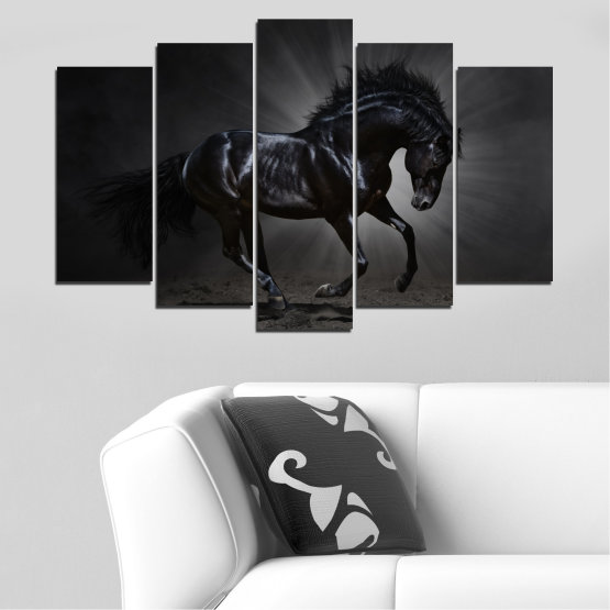 Canvas prints & wall decorative panels - 5 pieces №0649 » Red, Black, Gray, White, Dark grey » Animal, Horse, Portrait Form #1