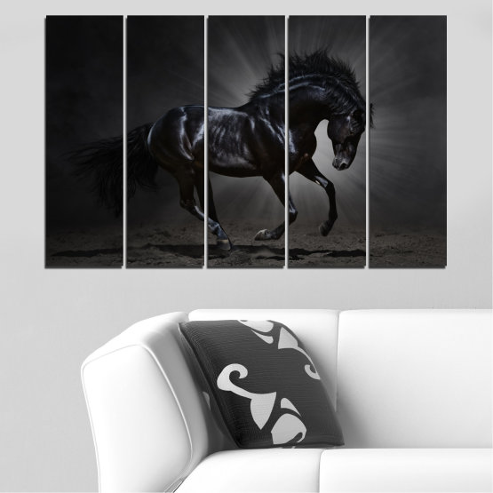 Canvas prints & wall decorative panels - 5 pieces №0649 » Red, Black, Gray, White, Dark grey » Animal, Horse, Portrait Form #2