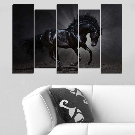 Canvas prints & wall decorative panels - 5 pieces №0649 » Red, Black, Gray, White, Dark grey » Animal, Horse, Portrait Form #3