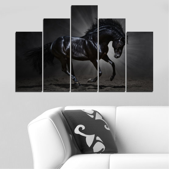Canvas prints & wall decorative panels - 5 pieces №0649 » Red, Black, Gray, White, Dark grey » Animal, Horse, Portrait Form #5
