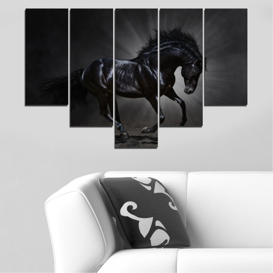 Canvas prints & wall decorative panels - 5 pieces №0649 » Red, Black, Gray, White, Dark grey » Animal, Horse, Portrait Form #6