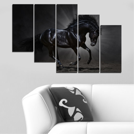Canvas prints & wall decorative panels - 5 pieces №0649 » Red, Black, Gray, White, Dark grey » Animal, Horse, Portrait Form #7