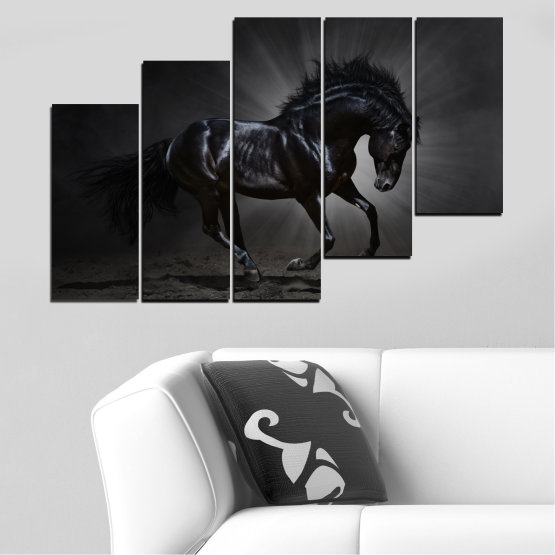 Canvas prints & wall decorative panels - 5 pieces №0649 » Red, Black, Gray, White, Dark grey » Animal, Horse, Portrait Form #8