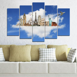 Landmark, Collage, Geography, Eiffel tower, Statue of liberty, Coliseum, Big ben » Blue, Turquoise, Gray