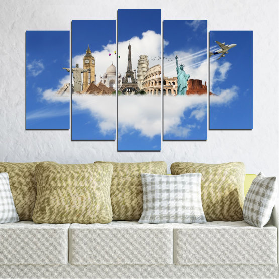 Canvas prints & wall decorative panels - 5 pieces №0065 » Blue, Turquoise, Gray » Collage, Landmark, Geography, Eiffel tower, Statue of liberty, Big ben, Coliseum Form #1