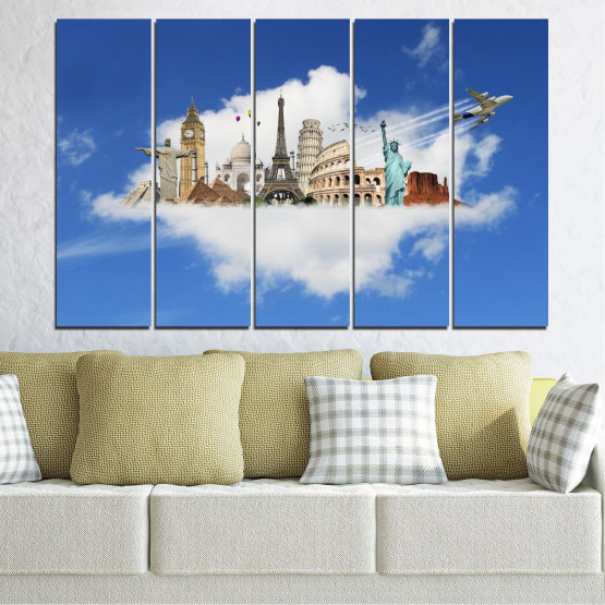 Canvas prints & wall decorative panels - 5 pieces №0065 » Blue, Turquoise, Gray » Collage, Landmark, Geography, Eiffel tower, Statue of liberty, Big ben, Coliseum Form #2
