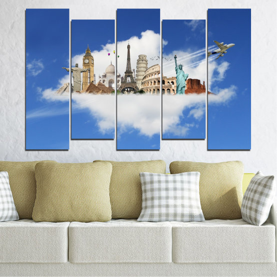 Canvas prints & wall decorative panels - 5 pieces №0065 » Blue, Turquoise, Gray » Collage, Landmark, Geography, Eiffel tower, Statue of liberty, Big ben, Coliseum Form #3