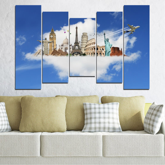 Canvas prints & wall decorative panels - 5 pieces №0065 » Blue, Turquoise, Gray » Collage, Landmark, Geography, Eiffel tower, Statue of liberty, Big ben, Coliseum Form #4