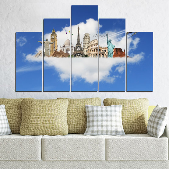 Canvas prints & wall decorative panels - 5 pieces №0065 » Blue, Turquoise, Gray » Collage, Landmark, Geography, Eiffel tower, Statue of liberty, Big ben, Coliseum Form #5