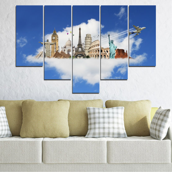 Canvas prints & wall decorative panels - 5 pieces №0065 » Blue, Turquoise, Gray » Collage, Landmark, Geography, Eiffel tower, Statue of liberty, Big ben, Coliseum Form #6