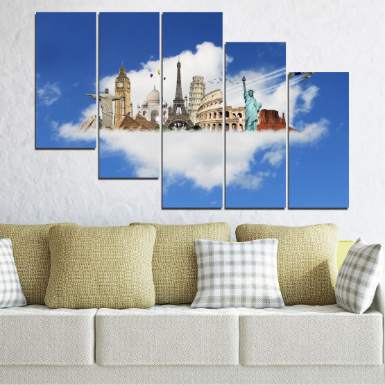Canvas prints & wall decorative panels - 5 pieces №0065 » Blue, Turquoise, Gray » Collage, Landmark, Geography, Eiffel tower, Statue of liberty, Big ben, Coliseum Form #7