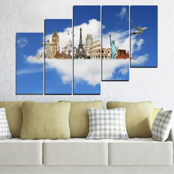 Canvas prints & wall decorative panels - 5 pieces №0065 » Blue, Turquoise, Gray » Collage, Landmark, Geography, Eiffel tower, Statue of liberty, Big ben, Coliseum Form #8