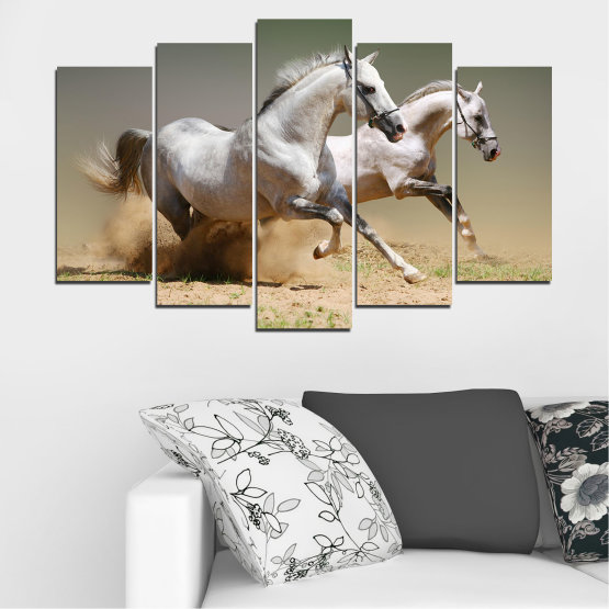 Canvas prints & wall decorative panels - 5 pieces №0650 » Brown, Gray, Beige, Dark grey » Animal, Horse, Portrait Form #1