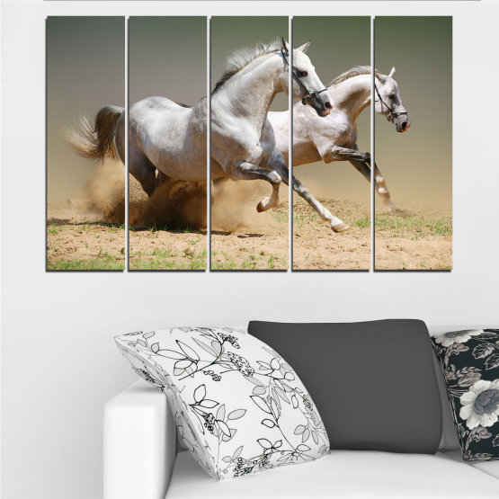 Canvas prints & wall decorative panels - 5 pieces №0650 » Brown, Gray, Beige, Dark grey » Animal, Horse, Portrait Form #2