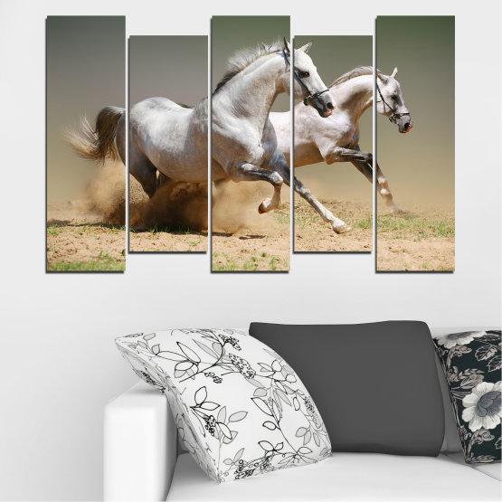 Canvas prints & wall decorative panels - 5 pieces №0650 » Brown, Gray, Beige, Dark grey » Animal, Horse, Portrait Form #3
