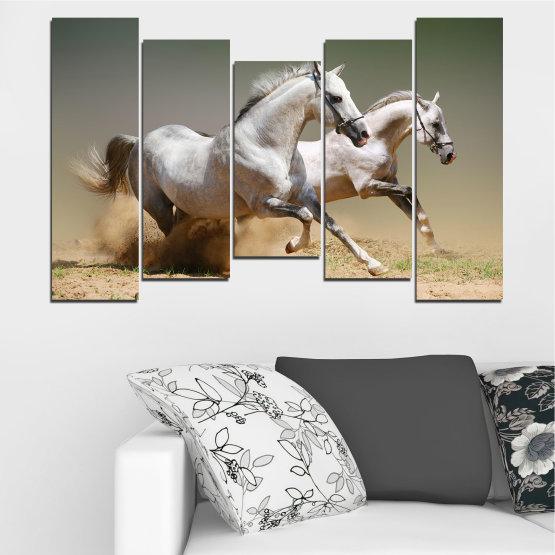 Canvas prints & wall decorative panels - 5 pieces №0650 » Brown, Gray, Beige, Dark grey » Animal, Horse, Portrait Form #4