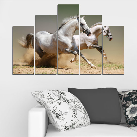 Canvas prints & wall decorative panels - 5 pieces №0650 » Brown, Gray, Beige, Dark grey » Animal, Horse, Portrait Form #5