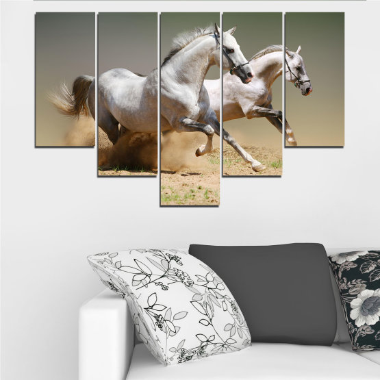 Canvas prints & wall decorative panels - 5 pieces №0650 » Brown, Gray, Beige, Dark grey » Animal, Horse, Portrait Form #6