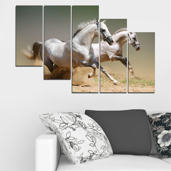 Canvas prints & wall decorative panels - 5 pieces №0650 » Brown, Gray, Beige, Dark grey » Animal, Horse, Portrait Form #7