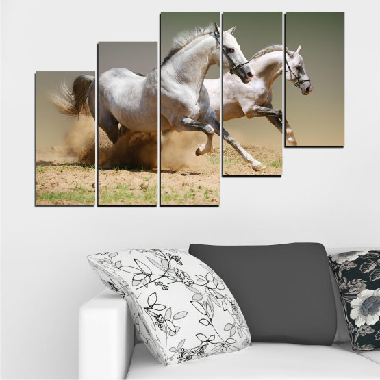 Canvas prints & wall decorative panels - 5 pieces №0650 » Brown, Gray, Beige, Dark grey » Animal, Horse, Portrait Form #8