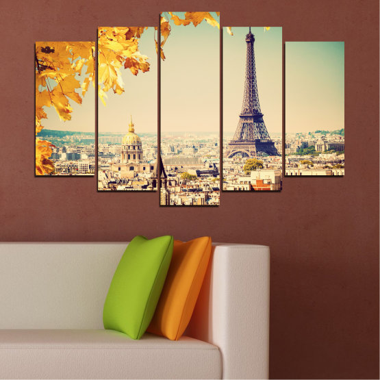 Canvas prints & wall decorative panels - 5 pieces №0651 » Yellow, Orange, Gray, Beige, Dark grey » Collage, City, Landmark, Eiffel tower, France, Paris Form #1