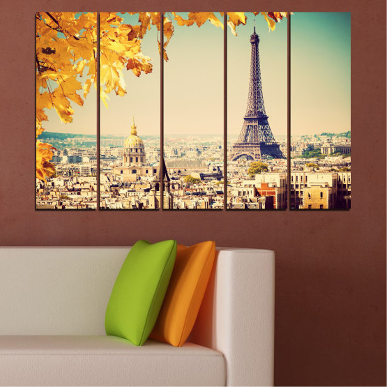 Canvas prints & wall decorative panels - 5 pieces №0651 » Yellow, Orange, Gray, Beige, Dark grey » City, Landmark, Collage, Eiffel tower, Paris, France Form #2