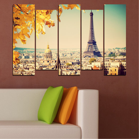 Canvas prints & wall decorative panels - 5 pieces №0651 » Yellow, Orange, Gray, Beige, Dark grey » Collage, City, Landmark, Eiffel tower, Paris, France Form #3
