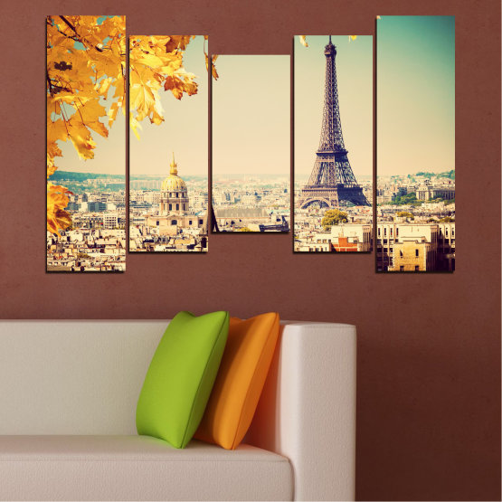 Canvas prints & wall decorative panels - 5 pieces №0651 » Yellow, Orange, Gray, Beige, Dark grey » Collage, City, Landmark, Eiffel tower, Paris, France Form #4