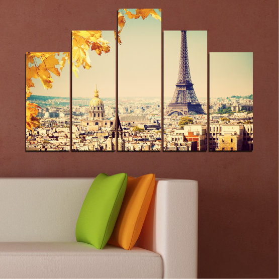 Canvas prints & wall decorative panels - 5 pieces №0651 » Yellow, Orange, Gray, Beige, Dark grey » Collage, City, Landmark, Eiffel tower, Paris, France Form #5