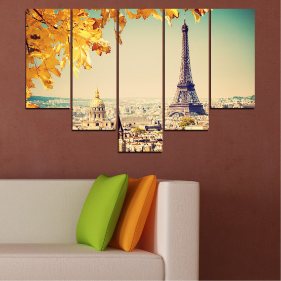Canvas prints & wall decorative panels - 5 pieces №0651 » Yellow, Orange, Gray, Beige, Dark grey » Collage, City, Landmark, Eiffel tower, Paris, France Form #6
