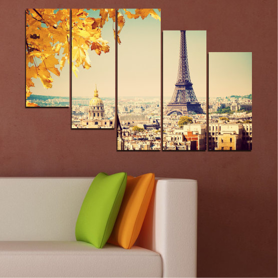 Canvas prints & wall decorative panels - 5 pieces №0651 » Yellow, Orange, Gray, Beige, Dark grey » Collage, City, Landmark, Eiffel tower, Paris, France Form #7