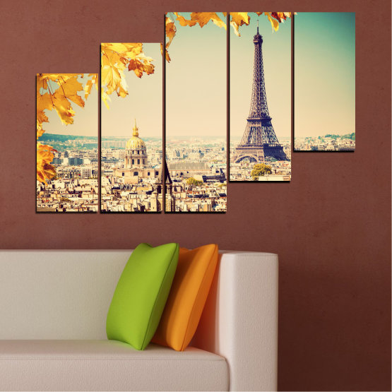 Canvas prints & wall decorative panels - 5 pieces №0651 » Yellow, Orange, Gray, Beige, Dark grey » Collage, City, Landmark, Eiffel tower, Paris, France Form #8