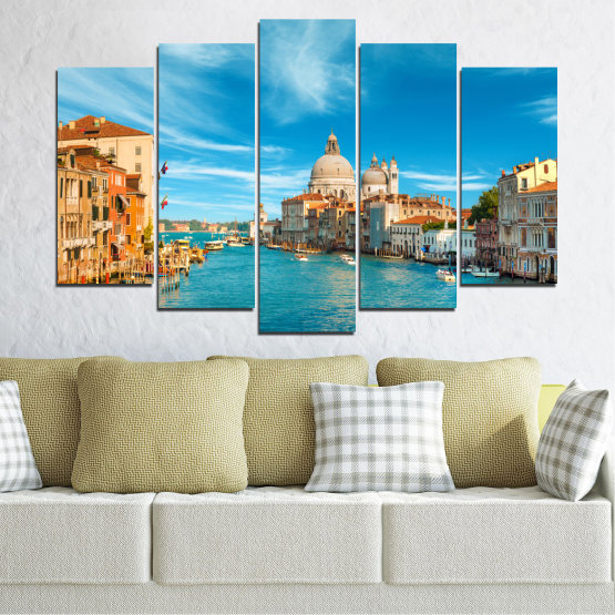 Canvas prints & wall decorative panels - 5 pieces №0652 » Blue, Turquoise, Gray, Beige » Water, City, Venice, Italy, Canal Form #1