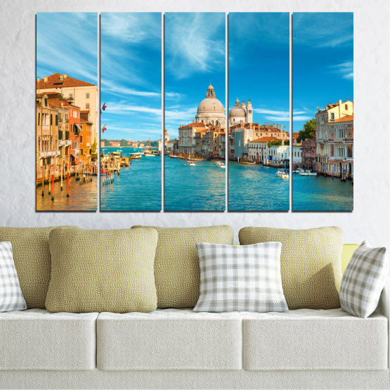Canvas prints & wall decorative panels - 5 pieces №0652 » Blue, Turquoise, Gray, Beige » Water, City, Venice, Italy, Canal Form #2