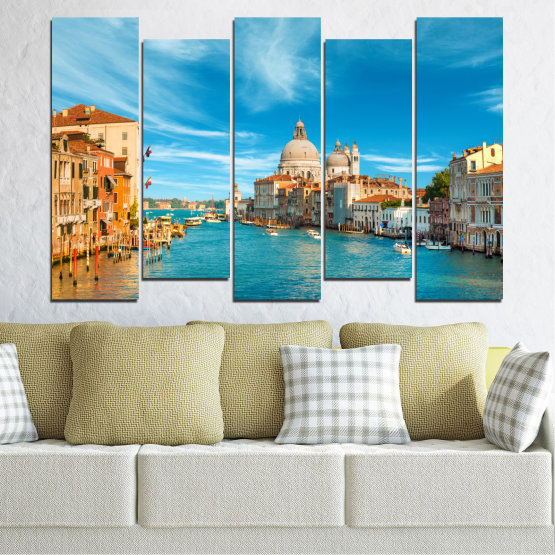 Canvas prints & wall decorative panels - 5 pieces №0652 » Blue, Turquoise, Gray, Beige » Water, City, Venice, Italy, Canal Form #3