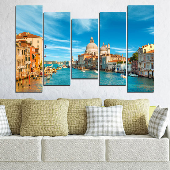 Canvas prints & wall decorative panels - 5 pieces №0652 » Blue, Turquoise, Gray, Beige » Water, City, Venice, Italy, Canal Form #4