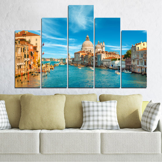 Canvas prints & wall decorative panels - 5 pieces №0652 » Blue, Turquoise, Gray, Beige » Water, City, Venice, Italy, Canal Form #5