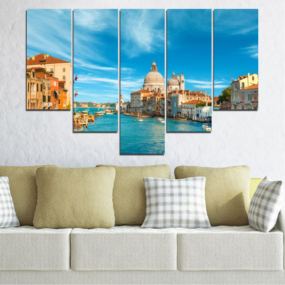 Canvas prints & wall decorative panels - 5 pieces №0652 » Blue, Turquoise, Gray, Beige » Water, City, Venice, Italy, Canal Form #6