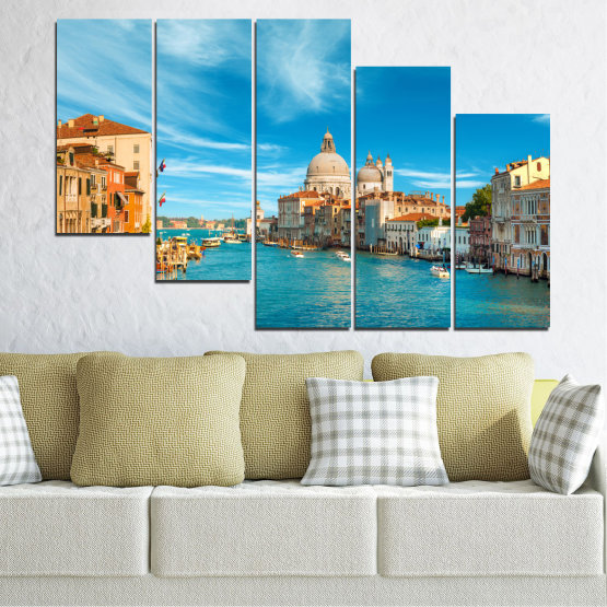 Canvas prints & wall decorative panels - 5 pieces №0652 » Blue, Turquoise, Gray, Beige » Water, City, Venice, Italy, Canal Form #7