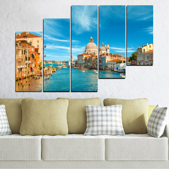 Canvas prints & wall decorative panels - 5 pieces №0652 » Blue, Turquoise, Gray, Beige » Water, City, Venice, Italy, Canal Form #8