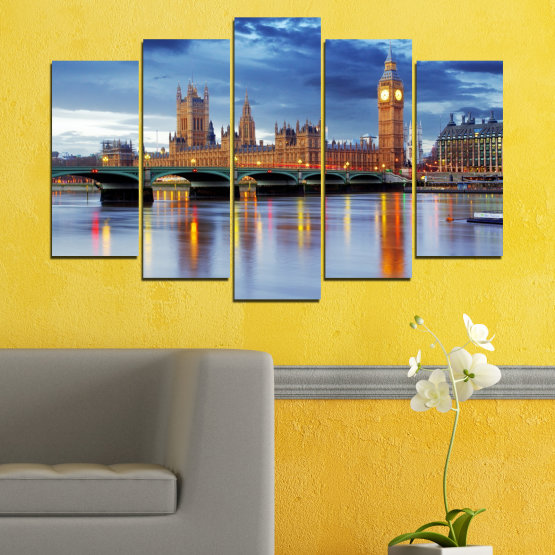 Canvas prints & wall decorative panels - 5 pieces №0653 » Blue, Turquoise, Gray, Dark grey » City, Water, London, Bridge, Great britain, Big ben Form #1