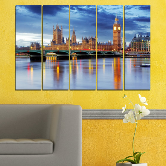 Canvas prints & wall decorative panels - 5 pieces №0653 » Blue, Turquoise, Gray, Dark grey » Water, City, London, Bridge, Great britain, Big ben Form #2