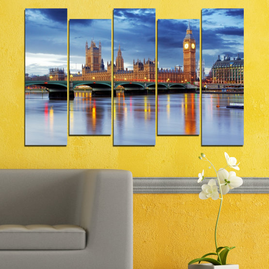 Canvas prints & wall decorative panels - 5 pieces №0653 » Blue, Turquoise, Gray, Dark grey » City, Water, London, Bridge, Great britain, Big ben Form #3