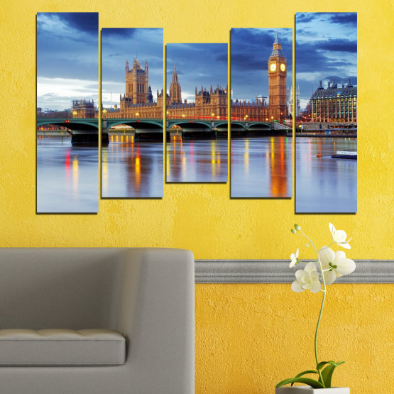 Canvas prints & wall decorative panels - 5 pieces №0653 » Blue, Turquoise, Gray, Dark grey » Water, City, London, Bridge, Great britain, Big ben Form #4