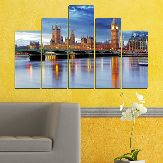 Canvas prints & wall decorative panels - 5 pieces №0653 » Blue, Turquoise, Gray, Dark grey » City, Water, London, Bridge, Great britain, Big ben Form #5