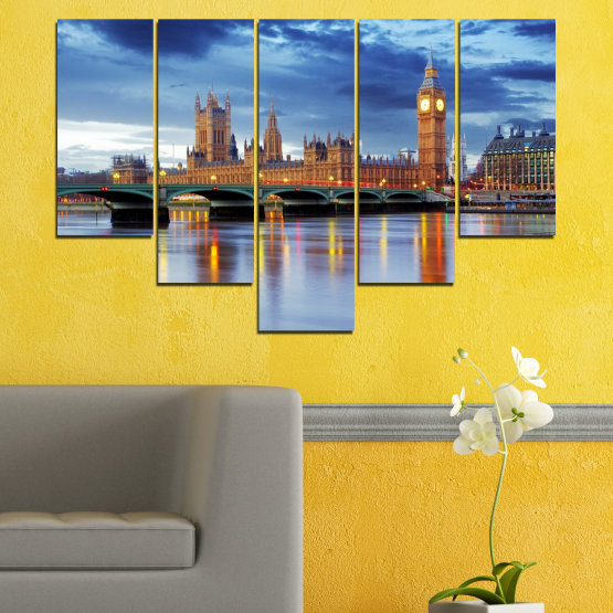 Canvas prints & wall decorative panels - 5 pieces №0653 » Blue, Turquoise, Gray, Dark grey » Water, City, London, Bridge, Great britain, Big ben Form #6