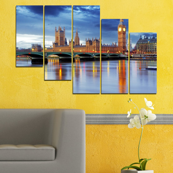 Canvas prints & wall decorative panels - 5 pieces №0653 » Blue, Turquoise, Gray, Dark grey » City, Water, London, Bridge, Great britain, Big ben Form #7