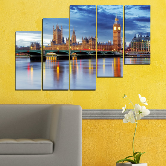 Canvas prints & wall decorative panels - 5 pieces №0653 » Blue, Turquoise, Gray, Dark grey » City, Water, London, Bridge, Great britain, Big ben Form #8