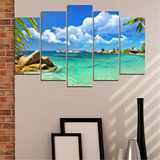 Canvas prints & wall decorative panels - 5 pieces №0654 » Red, Blue, Turquoise, Gray, White » Sea, Water, Beach, Bay, Sky, Rocks Form #1