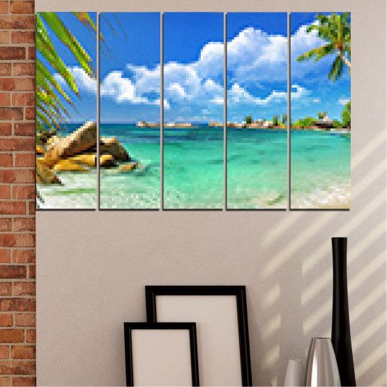 Canvas prints & wall decorative panels - 5 pieces №0654 » Red, Blue, Turquoise, Gray, White » Sea, Water, Beach, Bay, Sky, Rocks Form #2